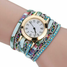Women Black Leather Wrap Watch Crystal Analog Bracelet Quartz Wristwatch Gifts