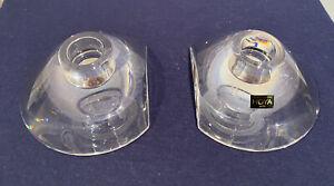 Vintage Hoya Heavy Museum Crystal Votive Candle Holder Set of 2