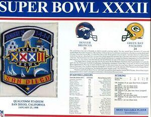 Willabee & Ward Super Bowl XXXII 32Patch Broncos vs Packers Terrell Davis  MVP