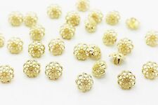 Golden Flower Metal Shank Button Filigree Floral Gold Blouse Shirt 13mm 20pcs