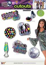 70s Party 12 Piece Disco Glitter Ball Scene Setter Room Cutouts Wall Decorations