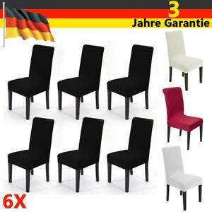 6x Stuhlhussen Stretch Baumwolle Stuhlbezug Universal Stuhlhusse Stuhlüberzug DE