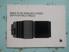 Minolta MC Rokkor-X Lenses Depth-Of-Field Tables Manual Guide E