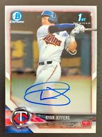 2018 Bowman Chrome RYAN JEFFERS Autograph Rookie 1st #CDA-RJ Minnesota Twins RC