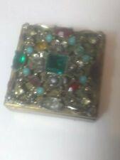 "New ListingVintage Florenza Trinket Jewelry Box with Many Rhinestones 1.5"" Square .5"" Tall"