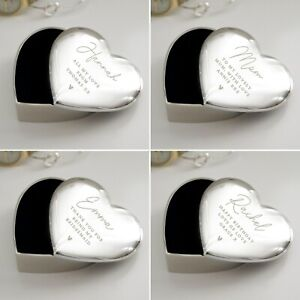 Personalised Engraved Name & Message Heart Trinket Box  Birthday Christmas Gift