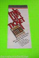 THE LIFT TICKET ORIGINAL NOS CARD VENDOR VENDING MACHINE SALES FLYER BROCHURE