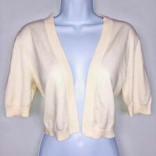Talbots Womens Sweater Small Ivory Short Sleeve Open Front Cropped Cardigan LG62