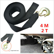 "1X Car Heavy Duty Tow Winch Strap 2"" Rope Hook Boat Trailer Polyester Webbing 4M"