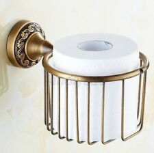 Antique Brass Wall Mount Bathroom Toilet Tissue Paper Roll Holder Basket Kba485
