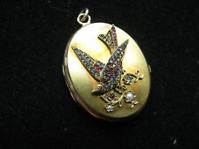 & Ruby & Gems 18.5g Superb Rare 15ct Yellow Gold Swallow Lovers Locket Diamonds