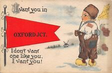 """I Vant You in"" Oxford Junction Iowa~Cobb Shinn Boy Puffs Pipe in Snow~1914 PC"