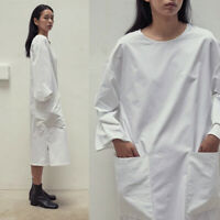 AMOMENTO boxy minimal crisp white cotton oversized pocket midi dress
