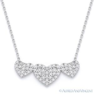 Triple-Heart CZ Charm Pendant & Chain Necklace in 925 Sterling Silver w/ Rhodium