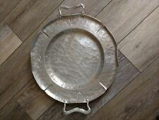 "Vintage 14"" Buenilum Hammered Aluminum Round Tray With Handles"