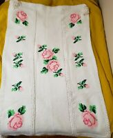 "Afghan White Blanket Handmade Cross Stitch Roses with Poms 44.25"" H x 72"" W"