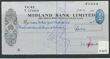 wbc. - CHEQUE - USED -1950's -CH17-  MIDLAND BANK LTD. HOUNSLOW - company