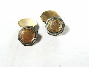 Edwardian / Art Deco Silvertone & Goldtone Cufflinks by WGC 8615