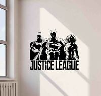 Justice League Wall Decal Superhero Decor Superman Vinyl Sticker Art Poster  774