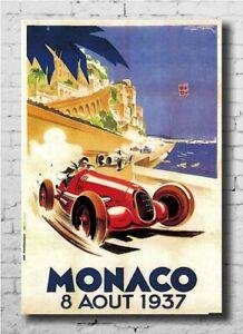 C397P Vintage 1937 Monaco Classic Motor Racing Poster Art Hot Gift