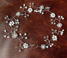 "Wedding Hair vine Tiara Bridal Prom bridesmaid pearl 10"" flowergirl, Prom 10"" UK"
