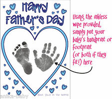 New Make your own Fathers Day Card YOUR Baby Son Daughter Hand prints Footprints