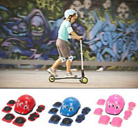 7Pcs/Set Boys Girls Kids Skate Cycling Safety Helmet Knee Elbow Pad Kit E5D4U