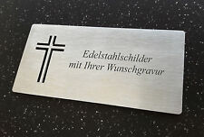 GRABSCHILD Gedenkschild Edelstahl (V2A) mit Kreuz-Ausbruch 125x60mm - mit GRAVUR