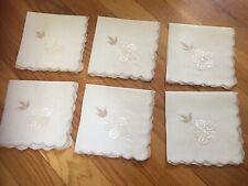 Set Of 6 Vintage Embroidered Ladies Handkerchiefs