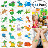 144x Temporary Tattoos Unicorn Dinosaur Stickers Party Supplies Favors kids