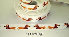 Dachshund Cute Brown printed grosgrain ribbon 22mm wide 2 metres