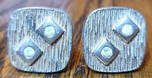 Vintage Lot Of Two Pair Cuff Links Silver Toned Round With Black Triangle Octagon Black And Blue With Rhinestones One Missing Stone Used