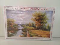 1000 Piece Jigsaw Puzzle - Watercolour River Meadow Scene (436)