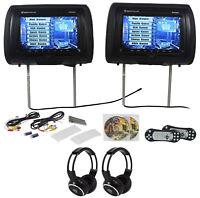 "Rockville RVD951-BK 9"" Black Dual DVD/HDMI Car Headrest Monitors+2 Headphones"