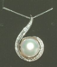 18CT WHITE GOLD PEARL DIAMOND  DROP PENDANT WITH CHAIN 1.00CT