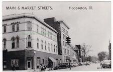 MAIN AND MARKET STREETS Hoopeston ILLINOIS c1940 Photo POSTCARD Vermilion County