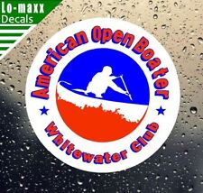 American Open Boater Whitewater Club Sports Canoe Watersports Vinyl Decal