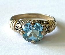 Cushion Blue Topaz Dainty Ladies Ring Filigree Sterling Silver 925 CNA Size 8