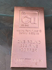 1 Pound Copper Bar Bullion Paperweight - 999 Pure Chemistry Element Design by...