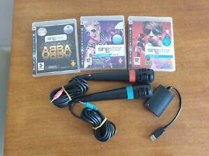 Official Singstar Wired Microphones only for PS3 PS2 - 3 Ps3 Games
