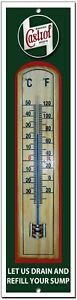 CASTROL LET US DRAIN AND REFILL YOUR SUMP METAL AND WOOD THERMOMETER.GARAGE SIGN