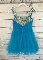 SHERRI HILL designer blue bedazzled cocktail party dress size 12