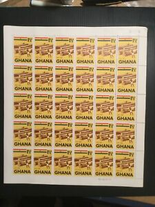 Ghana 1959 Sg  215 Issued Complete Sheet Of Stamps. Logs Plate 1C