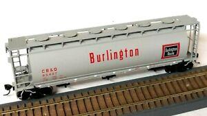 HO Scale Atlas CB&Q Burlington Three-Bay Cylindrical Hopper with Kadee Couplers