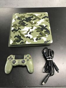 PS4 PlayStation 4 Slim 1TB Green Camo WW2  Console Only Call of Duty WWII Tested
