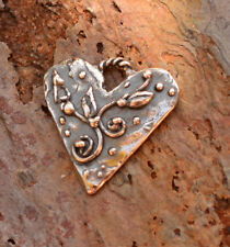 Bohemian Heart with Flowering Buds in Artisan Sterling Silver, H-629