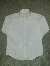 Mens Calvin Klein Button Front Long Sleeve shirt White Embroidered  Size 16 Slim