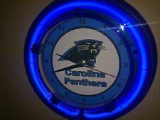 Carolina Panthers Football Gameroom Man Cave Blue Neon Wall Clock Sign