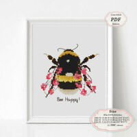 Bumble Bee Happy - Motivational Quotes Cross stitch Embroidery PDF Pattern #229