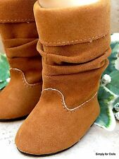 "BROWN CAMEL Suede Slouchy DOLL BOOTS SHOES fits 18"" AMERICAN GIRL Doll Clothes"